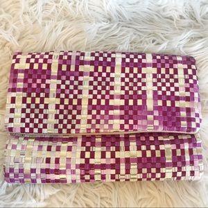 Deux Lux Metallic Weave Clutch
